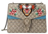 Gucci Medium Angry Cat Gg Supreme Canvas & Suede Shoulder Bag - None
