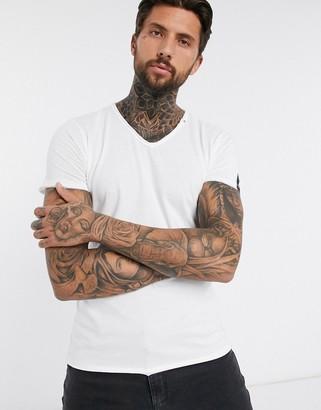 Replay raw hem v neck t-shirt in white