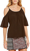 French Connection Polly Plains Cold-Shoulder Top