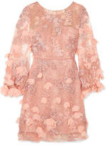 Marchesa Embellished Tulle And Lace Dress - Baby pink