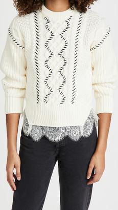 Self-Portrait Cable Knit Contrast Stitch Sweater