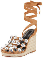 Alexander Wang Taylor Clay Suede Wrap Wedge Sandal, Taupe