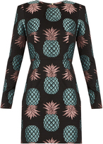House of Holland Pineapple long-sleeved jacquard dress