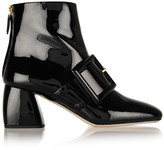 Miu Miu Buckled Patent-leather Ankle Boots - Black