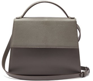 Hunting Season The Top Handle Large Leather And Lizard Bag - Grey