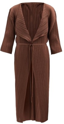 Pleats Please Issey Miyake Belted Technical-pleated Coat - Dark Brown