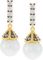 Freida Rothman Pearly Pave Crystal Bar Drop Earrings