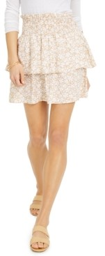 Derek Heart Juniors' Printed Tiered Smocked-Waist Mini Skirt