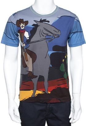 Dolce & Gabbana Multicolor Cotton Cowboy Print T Shirt XS