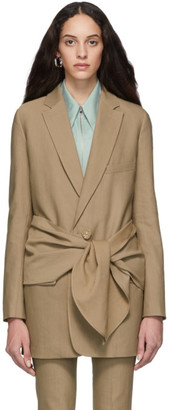 Tibi Brown Long Removable Tie Blazer