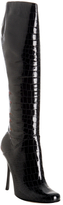 black croc embossed patent stiletto boots