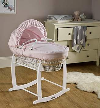Clair De Lune Cotton Dream White Wicker Moses Basket - Grey
