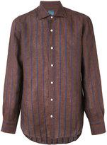 Barba embroidered stripe shirt - men - Linen/Flax - 41