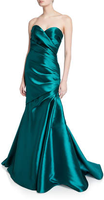 Badgley Mischka Couture Strapless Bow-Back Trumpet Gown