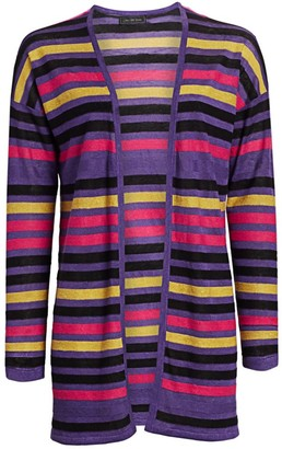 Saks Fifth Avenue COLLECTION Silk & Linen Striped Open-Front Cardigan