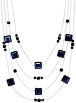 INC International Concepts Silver-Tone Jet Stone Four Layer Statement Necklace, Only at Macy's