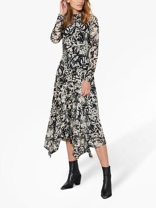 Mint Velvet Kelly Abstract Butterfly Print Midi Dress, Multi