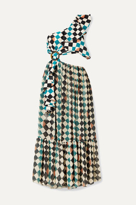 PatBO One-shoulder Cutout Checked Chiffon And Stretch-jersey Midi Dress - Green