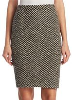 Ralph Lauren Slub Tweed Herringbone Knit Pencil Skirt