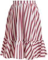 MSGM Striped cotton-poplin skirt