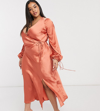 ASOS DESIGN Curve satin wrap front midi dress