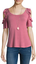 Self Esteem Short Sleeve Round Neck Knit Blouse-Juniors
