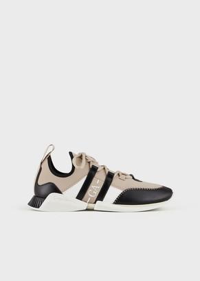 Giorgio Armani Scuba-Fabric Sneakers With Leather Inserts