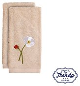 Poppy Field Finger Tip Towels - Bathroom Shower Collection - Set of 2 Washcloths - Exclusive Towel Set by Trendy Linens