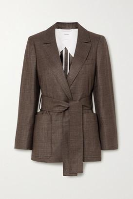 CASASOLA Giorgio Belted Silk And Cashmere-blend Blazer - Gray