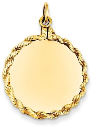 Curata 14k Yellow Gold Solid Polished Engravable Plain .013 Gauge Circular Engraveable Disc Rope Charm