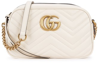 Gucci GG Marmont small ivory leather cross-body bag