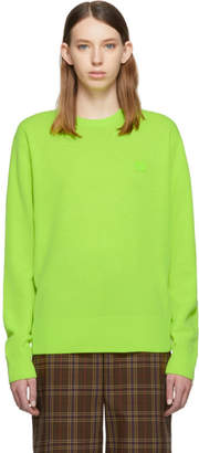 Acne Studios Green Nalon Face Crewneck Sweater