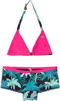 O'Neill Black and Pink Palm Print Selva Shorty Bikini