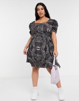 Koko square neck skater dress in paisley print