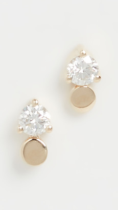 Ef Collection 14k Gold Disc with Prong Set Diamond Studs