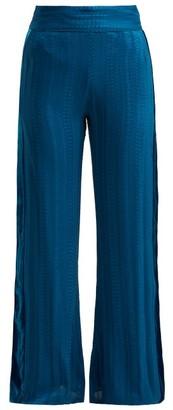 ZEUS + DIONE Alcyone Side-stripe Silk-blend Trousers - Womens - Mid Blue