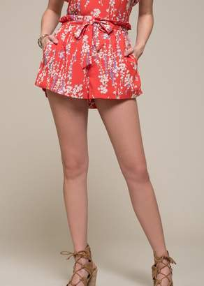 Moon River Floral High Waisted Paperbag Shorts