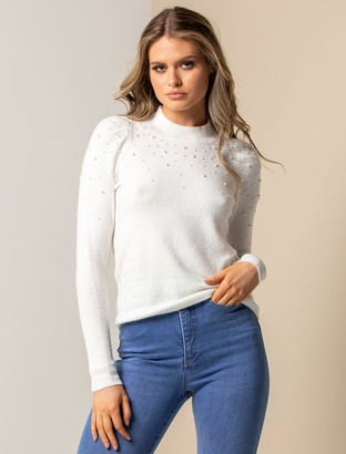 Ever New Frida Scattered Pearl Knit Sweater