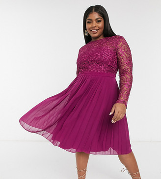 Chi Chi London Plus lace top pleated skirt midi dress in berry pink