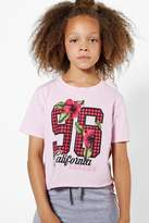 boohoo Girls 96 Gingham Cropped Tee soft pink