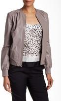 Halston Genuine Leather Gathered Shoulder Jacket