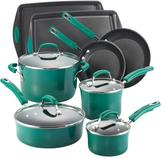 Rachael Ray 12-pc. Nonstick Porcelain II Cookware Set with Bakeware, Fennel Gradient