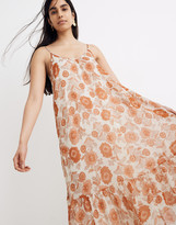 Madewell Scoop-Back Cami Midi Dress in Metallic Gathered Blooms