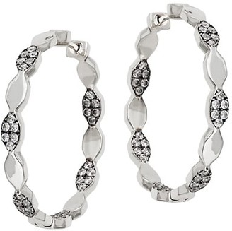 Adriana Orsini Edgy Rhodium & Black Ruthenium-Plated Sterling SIlver and Cubic Zirconia Scalloped Hoop Earrings