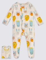 Marks and Spencer 3 Pack Pure Cotton Lion Print Sleepsuits