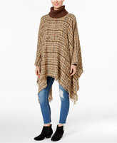 David & Young Marled Cross Bouclé Turtleneck Poncho