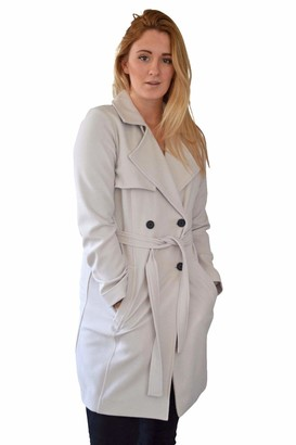 Dorothy Perkins Womens Ladies Stone Grey Crepe Summer Trench Coat Jacket Size 12