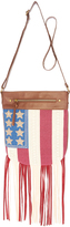 Brown Americana Flag Fringe Crossbody Bag