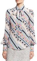 Marc Jacobs Printed Tie-Neck Bishop-Sleeve Blouse, Blue