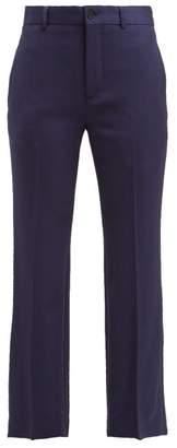 Balenciaga Mid Rise Wool Blend Trousers - Womens - Navy